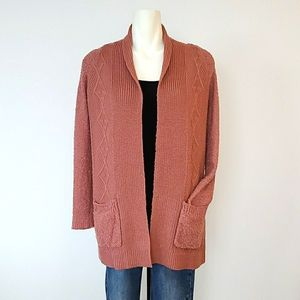 Poof Apparel Pink Cotton Knit Cardigan, Si…